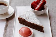 Philip Johnson's E'cco Bistro | Recipes | Flourless chocolate cake, poached rhubarb, clotted cream  raspberry sorbet