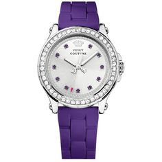 Juicy Couture 'Pedigree' Crystal Bezel Silicone Strap Watch, 38mm $175
