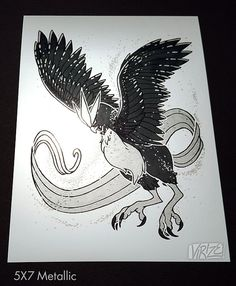 Ardent Legends Series: Articuno  Part of a series of works that features the unity of black and silver! In the light, the silver accents shine with a brilliant, cool lustre.  ~~~~~~~~~~  5x7 Metallic prints are printed on Polar Pearl Metallic paper that shines brilliantly in the light and breathes life into the artwork. Acid-free base stock, archival quality, 66lb (255gsm), 10.4 mil thickness.  All prints have adequate spacing around the artwork to allow for framing!  ~~~~~~~~~~  Materials…