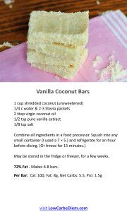 The amazing truths about high fat, low carb lifestyle.  Scroll to the bottom for recipes to vanilla coconut bars and chocolate mousse.