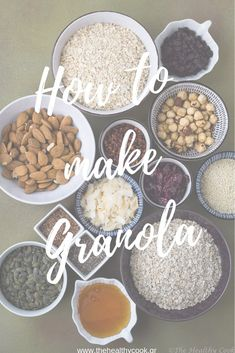 Tip Πώς φτιάχνω Granola – How to make Granola - The Healthy Cook Cooking 101, Cooking Recipes, How To Make Granola, Healthy Snacks, Healthy Recipes, Us Foods, Biscotti, Cereal, Breakfast