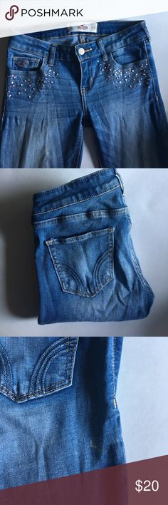 Hollister embellished jeans Hollister embellished super skinny jeans. Very small mark on back as shown. W 26. Hollister Jeans