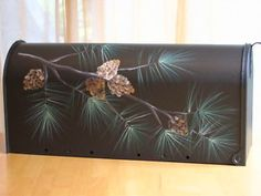 hand painted mailboxes   Hand Painted Rural Mailbox Art Pine Branch on Bronze   eBay