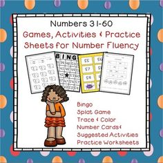 Great practice for young learners or students who are having difficulty learning to recognize and write their numbers 31-60. Engaging games and practice activities that will improve students early number fluency!Includes 20 bingo cardsSplat number naming gameNumber writing practice worksheetNumber cards and suggested activities (whole class or small group)Trace and color sheets 31-35, 36-40, 41-45, 46-50, 51-55, 56-60 Missing  numbers worksheet