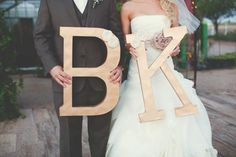 diy oversized gold wedding initial letters with fabric flower detail