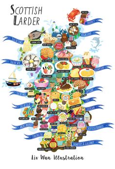 Delicious Scotland food map illustration illustrated by Edinburgh based illustrator Liv Wan