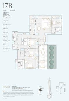 Midtown Manhattan Condos for Sale Condo Floor Plans, Apartment Floor Plans, House Plans, Luxury Penthouse, Luxury Apartments, Electrical Plan Symbols, Jean Nouvel, Villa Plan, Penthouses