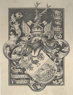 Armorial Bookplate of Harold Stanley Forwood Ex Libris, Art Nouveau Illustration, City Drawing, Engraving Printing, Vintage Lettering, Ship Art, Pretty Art, Coat Of Arms, Art Inspo