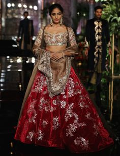 Top Picks - Maroon red velvet lehenga with floral motifs in silver embroidery - Manish Malhotra India Couture Week 2016