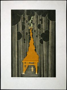 """Sasuke Inari (1991) woodblock with linocut, 23""""x17"""". Ray Morimura (b. 1948).  Notes: Kamakura Shinto shrine dedicated to Inari the deity of fertility and the harvest. Foxes are associated with Inari as messengers. This shrine has many flag draped torii gates going up a hillside."""