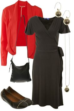 This elegant and sophisticated look is bought to you by a wrap dress, gold ball accessories and a gorgeous bright blazer. Girl Stuff, Well Dressed, Style Guides, Personal Style, Wrap Dress, Tights, Fashion Outfits, Boutique, Elegant