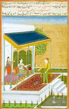 A leaf with two Ragamala illustrations: Patmanjari Ragini and Dakini (?) Ragini, India, Deccan, Hyderabad, circa 1760 | Lot | Sotheby's