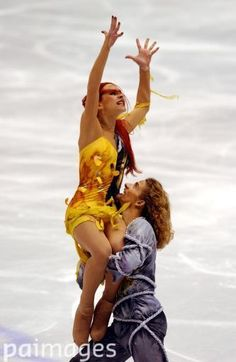France's Marina Anissina and partner Gwendal Peizerat on their way to the gold medal in the ice dancing competition Winter Olympics - Salt Lake City 2002 - Figure Skating - Ice Dancing - Free Dance - Images - Press Association