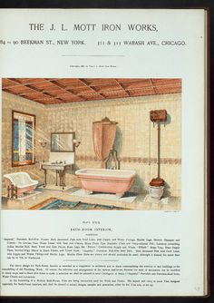 Mott's Iron Works 1877-1893 bath catalog. Bath-room interior. Plate 975-G.