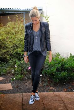 Street Style: Leather Jackets and Black Converse All Stars