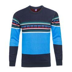 Sale 23% (35.89$) - Mens Round Neck Sweater Fashion Stripes Pattern Fleece Knit Thick Warm Turtleneck Pullover