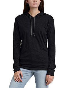 Anvil Damen  Langarmshirt mit Kapuze   887L, Einfarbig, Gr. 48 (Herstellergröße: XXL), schwarz (Black Dark Grey 036)