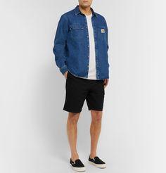 Carhartt Cotton-blend Ripstop Shorts In Black Denim Button Up, Button Up Shirts, Vans Sneakers, Carhartt, Men's Style, Work Wear, Mens Fashion, Shorts, Cotton