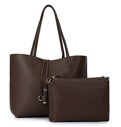 Mixeshop women's Fashion Leather East West Printing Tote Handbag Brown -- Check out this great image @