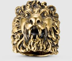 16ca56f38eb2b6 Gucci Ring In Aged Metal With Lion Head in Gold Gucci Lion Ring, Leather  Jewelry