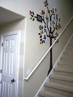 Family Tree - DIY wall decal tutorial Would be cute going going downstairs to a family room!