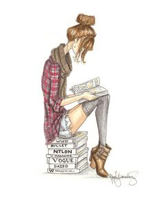 The Reader Series Grunge Fashion Illustration by StephanieJimenez, $12.00