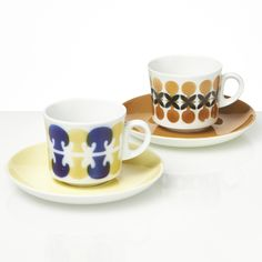 Arabia Tatti and Rasti Coffee for Two, Vintage Brown Cups, Stencil Printing, Coffeecup, Nordic Home, Coffee Set, Vintage Dishes, Blue Design, Airbrush, Geometric Shapes