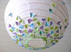 """DAS ORIGINAL Lampe """"Schmetterlingswiese lila-blau"""" von Taschendrachen auf DaWanda.com"""