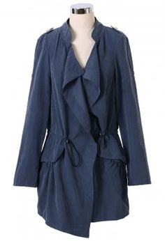 Navy Draped Trench Coat - Outers - Retro, Indie and Unique Fashion