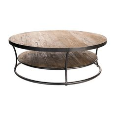 Brandished from weathered elm, the industrial chic Livingston Coffee Table is a piece that's full of character. Each elm tier is reinforced by curved iron bars and circular iron base, which gives the t...  Find the Livingston Coffee Table, as seen in the Farm Fresh Living in Marin Collection at http://dotandbo.com/collections/farm-fresh-living-in-marin?utm_source=pinterest&utm_medium=organic&db_sku=106298