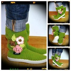 Crochet Boots Knit boots for street adult outdoor by ukicrafts, Spring Boots, Summer Boots, Green Boots, Crochet Boots, Knit Shoes, Shoe Pattern, Summer Flowers, Crochet Flowers, Baby Shoes
