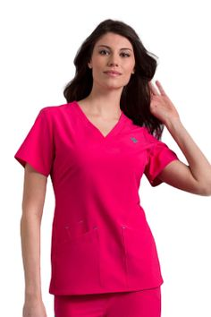 Riviera V-Neck Top Med Couture Scrubs, Caregiver, Peaches, V Neck Tops, Peach