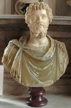 Emperor Septimius Severus, Roman bust (marble and alabaster), 2nd-3rd century AD, (Palazzo Nuovo, Rome).