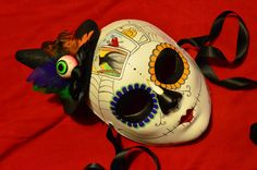 Tarot Witch Mask - Day of the Dead Witchy Hat Feathers Cards Spider webs Skeleton sugar Skull Bones Dia De los Muertos Calavera mask