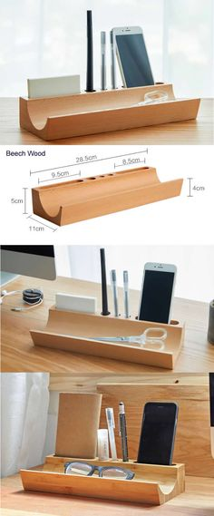 Natural Bamboo Wooden Office Desk Organizer  Pen Pencil Holder  Stand Smart Phone Mobile Phone iPhone Dock Stand Holder  Paper Clip Holder Collection Storage Box Organizer Remote Control Holder Organizer Memo Holder Makeup Organizer Ideas - Phone Stand / Pencil Holder / Business Card Holder Desktop Organization, Office Organization, Office Desk Gifts, Bamboo Pen, Remote Control Holder, Bamboo Crafts, Wooden Lamp, Notebook Design, Pencil Holder