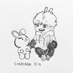 Cooky and Kooky Jungkook Fanart, Kpop Fanart, Kpop Drawings, Fan Art, Bts Chibi, Korean Art, Ink Illustrations, Bts Wallpaper, Cute Art