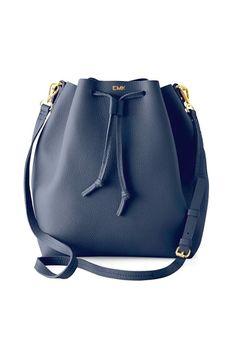 Leather Monogram Bucket Bag