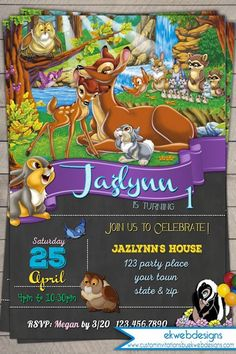 Disney Bambi Birthday Invitation, Printable file