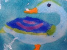 Hand painted Duck tile on 10x20cm.