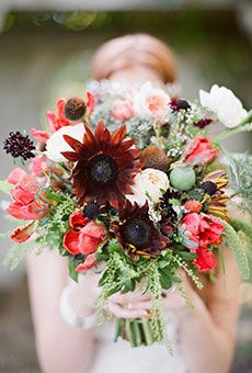 Rustic Mixed Bouquet with Tulips & Wildflowers | Wedding Flowers
