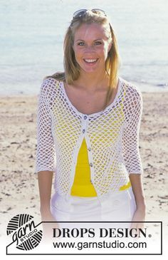 Catch of the Day - DROPS Crocheted Top and Cardigan in Muskat - Free pattern by DROPS Design