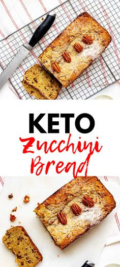 This Healthy Keto Zucchini Bread is made with almond flour and perfect for your low carb and gluten free lifestyle! Such an easy recipe to make and SO MOIST! I make it with pecans but walnuts would also be great. Low Carb Zucchini Fries, Low Carb Bread, Zucchini Bread, Low Carb Keto, Keto Fat, Keto Recipes, Snack Recipes, Dessert Recipes, Cream Recipes