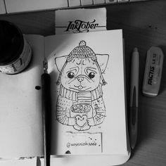 #inktober #inktoberkostolom3000 #ink #inkart #pug #pugs #dog #art #artwork #artoftheday #illustration #draw #drawing #inkdraw #pic #picoftheday *** #kostolom3000 #AnnaAlekseeva