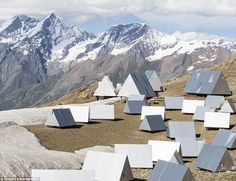 Mountain campsite: The aluminum tents are situated on flat ground at the foot of the Matterhorn