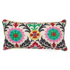 This stylish Maria throw pillow is a great accent piece to any sofa, chair or bed. A gorgeous floral motif with cool colors bedecks this throw, wrapped around a plush polyester fill for a luxurious feel.