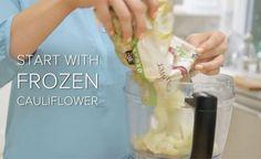 putting frozen cauliflower into a food processor