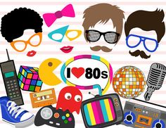 Printable 1980s Party Photo Booth Props Retro by TracyPartyDesign