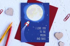 Birthday Card Love you to the Moon and Back Moon by CheerfulGeek