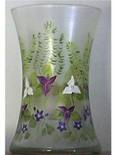Hand painted vase. Wildflowers and ferns. By Sue Cox