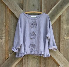 linen top Romance flare design in thistle dusty lavender with roses. $119.00, via Etsy.